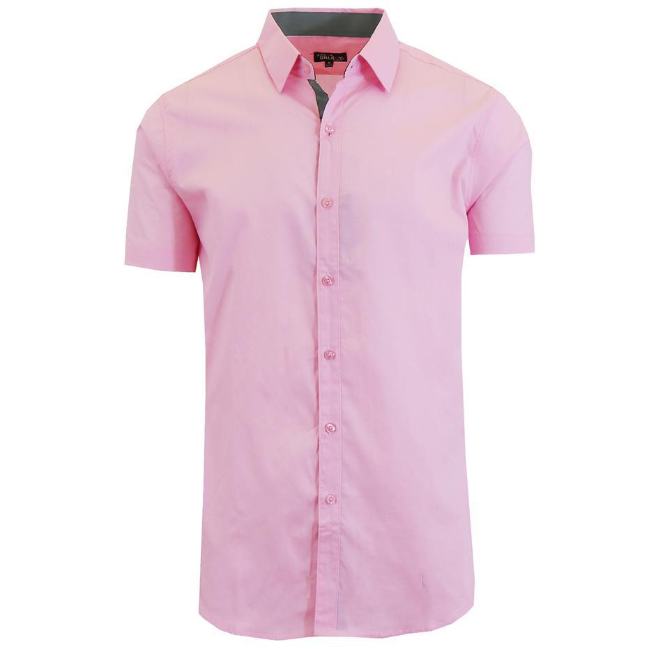 Men's Short-Sleeve Solid Button-Down Shirts-Pink-S-Daily Steals