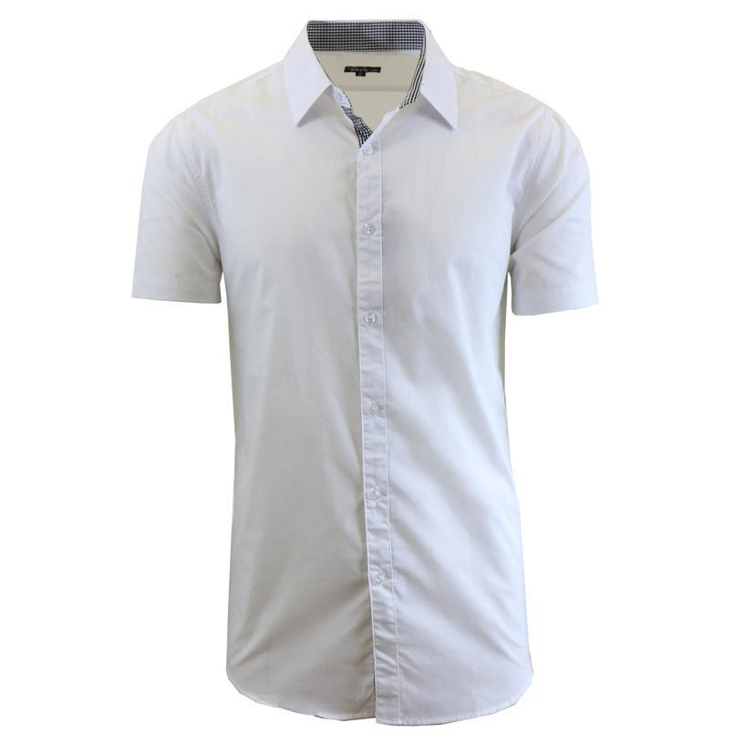 Men's Short-Sleeve Solid Button-Down Shirts-White-S-Daily Steals