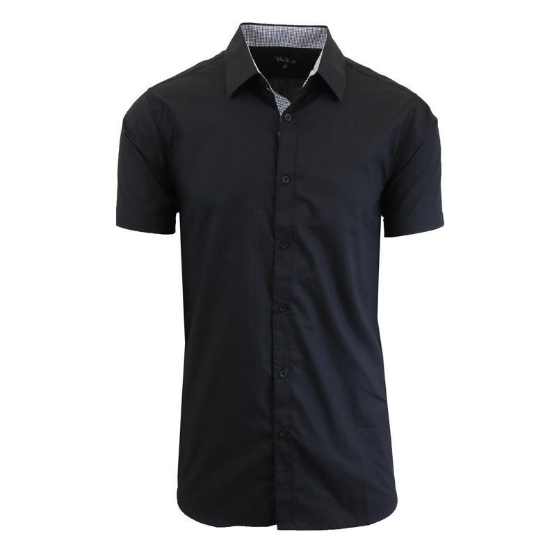 Men's Short-Sleeve Solid Button-Down Shirts-Black-S-Daily Steals
