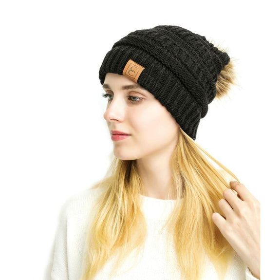 Popular CC Chic Pom Pom Beanie-Black-Daily Steals