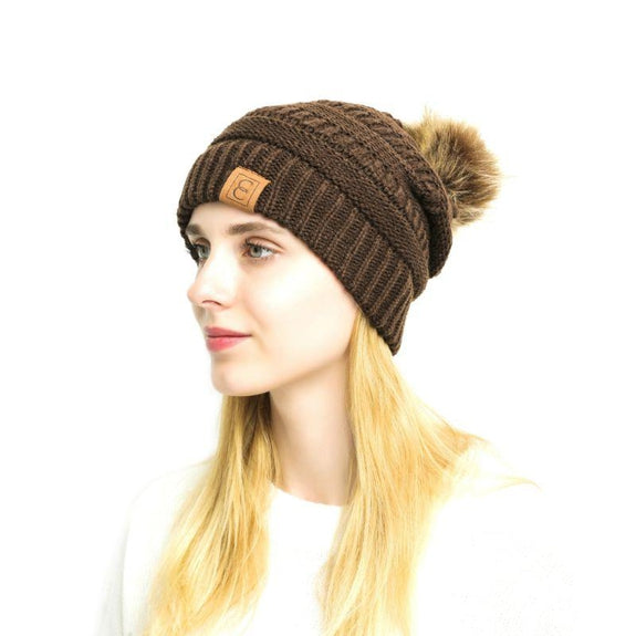 Popular CC Chic Pom Pom Beanie-Brown-Daily Steals