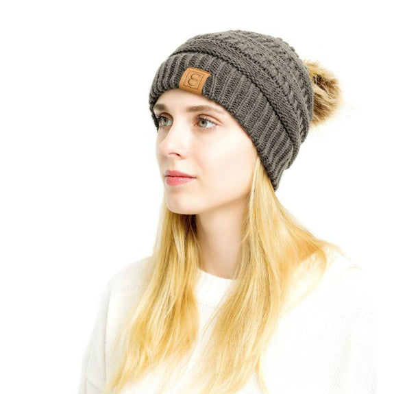 Popular CC Chic Pom Pom Beanie-Dark Grey-Daily Steals