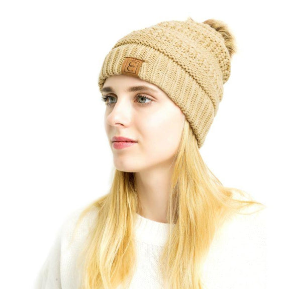 Popular CC Chic Pom Pom Beanie-Khaki-Daily Steals