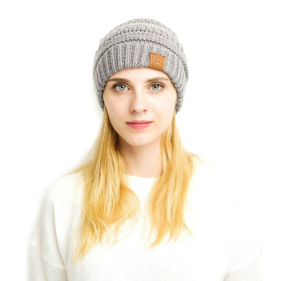 Popular CC Chic Pom Pom Beanie-Light Grey-Daily Steals