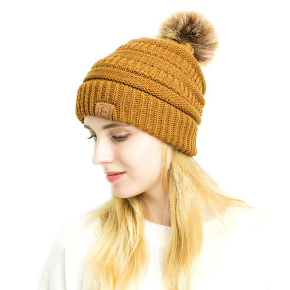 Popular CC Chic Pom Pom Beanie-Mustard-Daily Steals