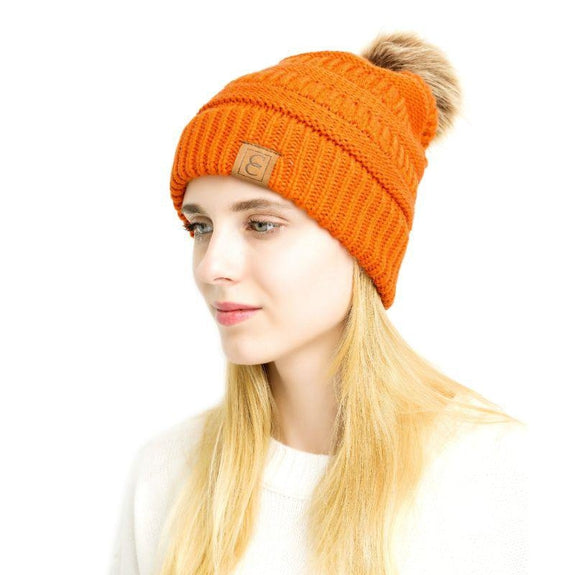 Popular CC Chic Pom Pom Beanie-Orange-Daily Steals