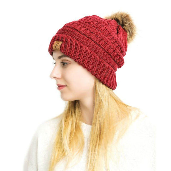 Populaire CC Chic Pom Pom Beanie-Red-Daily Steals