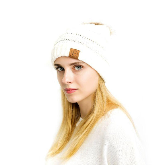 Popular CC Chic Pom Pom Beanie-White-Daily Steals