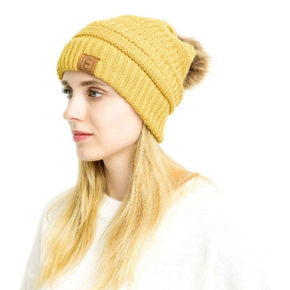 Popular CC Chic Pom Pom Beanie-Yellow-Daily Steals