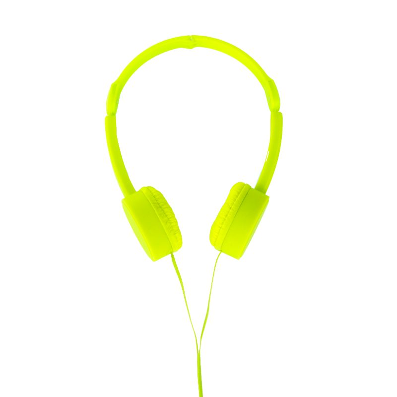 POP TONE Comfort Headphones with Tangle-Free Flat Wires-Lime-Daily Steals
