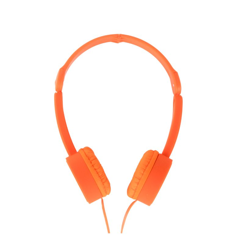 POP TONE Comfort Headphones with Tangle-Free Flat Wires-Orange-Daily Steals