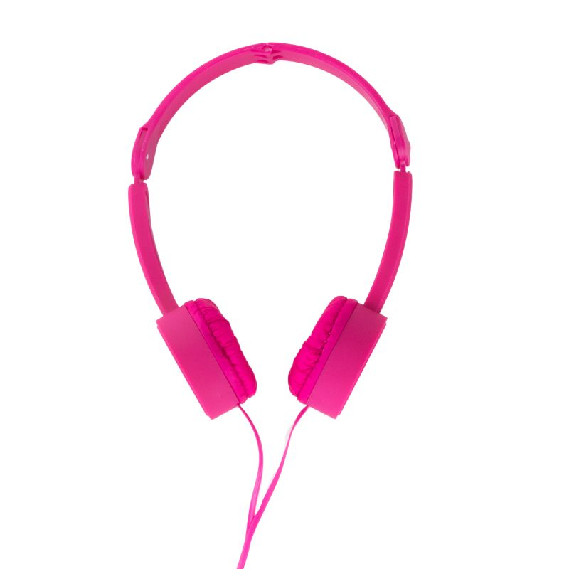 POP TONE Comfort Headphones with Tangle-Free Flat Wires-Raspberry-Daily Steals