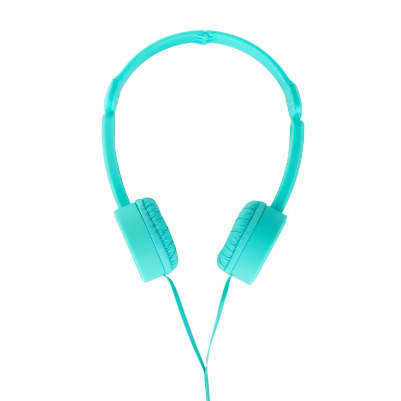 POP TONE Comfort Headphones with Tangle-Free Flat Wires-Turquoise-Daily Steals