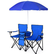 Portable Folding Picnic Double Chair with Umbrella-