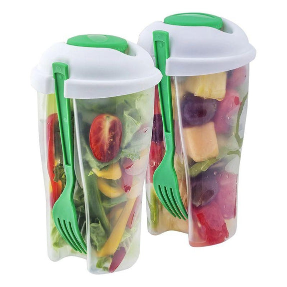 Portable Healthy Food Salad Storage On-the-Go Container, BPA Free - 2 Pack-Daily Steals