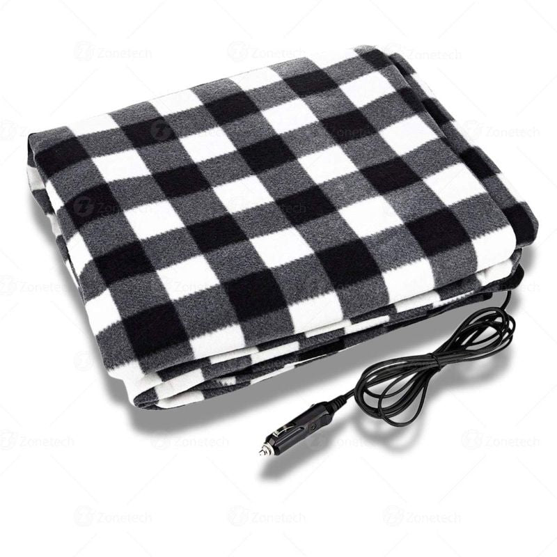 Premium Quality 12V Electric Black and White Plaid Travel Blanket by Zone Tech-Daily Steals