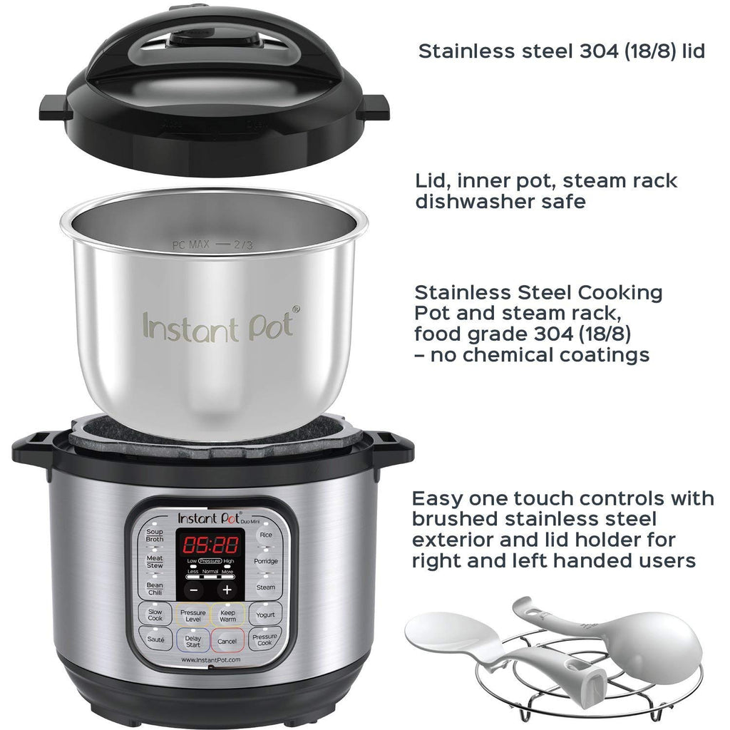 Daily Steals-Instant Pot Duo Mini 3 Qt 7-in-1 Multi- Use Programmable Pressure Cooker, Slow Cooker, Rice Cooker, Steamer, Sauté, Yogu-Foods-