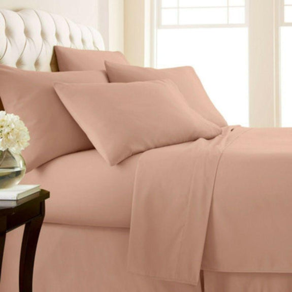 4-Piece: Luxury Home 1,000 Thread Count Egyptian Cotton Sheet Sets-Blush-Queen-Daily Steals