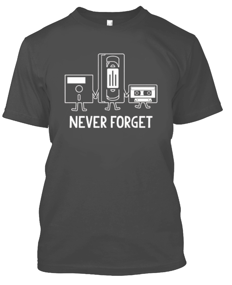 Never Forget Nostalgic Floppy Disk Cassette T-Shirt-Charcoal-S-Daily Steals