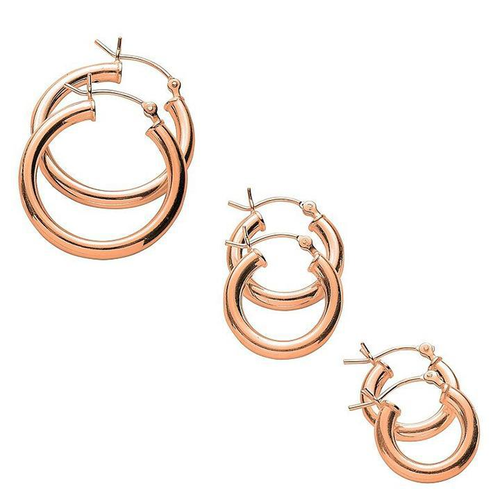 Classic Polished 3 Pair Hoop Earrings Set-Rose-Daily Steals