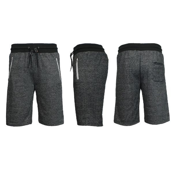 Men's Marled or Solid French Terry Shorts with Zipper Pockets-Heather Black-Small-Daily Steals