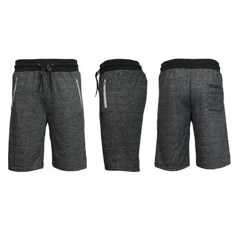 Daily Steals-Men's Marled or Solid French Terry Shorts with Zipper Pockets-Men's Apparel-Heather Black-Small-