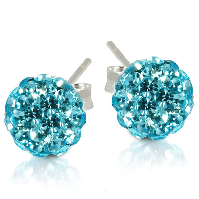 2 CT Crystal Ball Studs - Variety of Colors-Aqua-Daily Steals