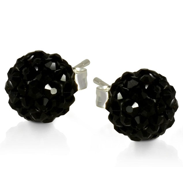 2 CT Crystal Ball Studs - Variety of Colors-Black-Daily Steals