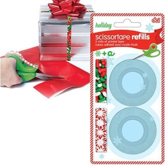"6-Pack Holiday ScissorTape Refill Bundle - 12 Rolls of Printed Design Tape 1/2""-Daily Steals"