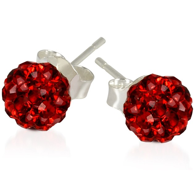 2 CT Crystal Ball Studs - Variety of Colors-Red-Daily Steals