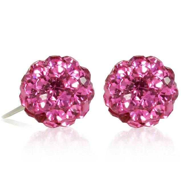 2 CT Crystal Ball Studs - Variety of Colors-Pink-Daily Steals