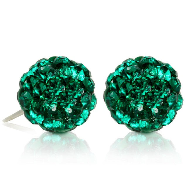 2 CT Crystal Ball Studs - Variety of Colors-Green-Daily Steals