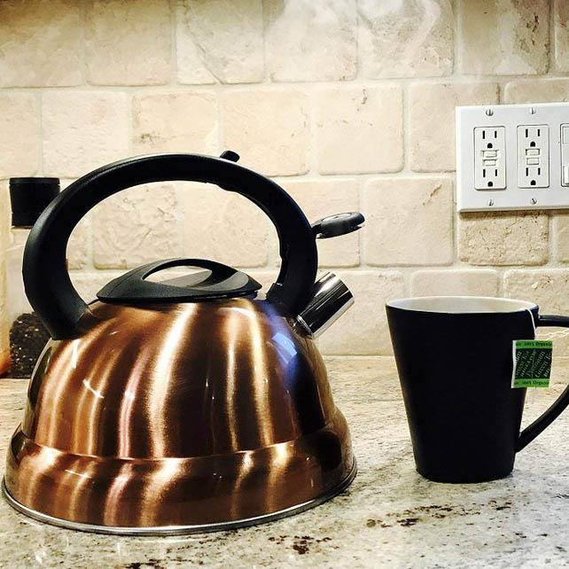 3-Quart Whistling Tea Kettle - Modern Stainless Steel Whistling Tea Pot-Daily Steals