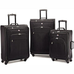 Daily Steals-American Tourister Pop Plus 3 Piece Nested Spinner Luggage Set-Spinner Luggage Set-Black-