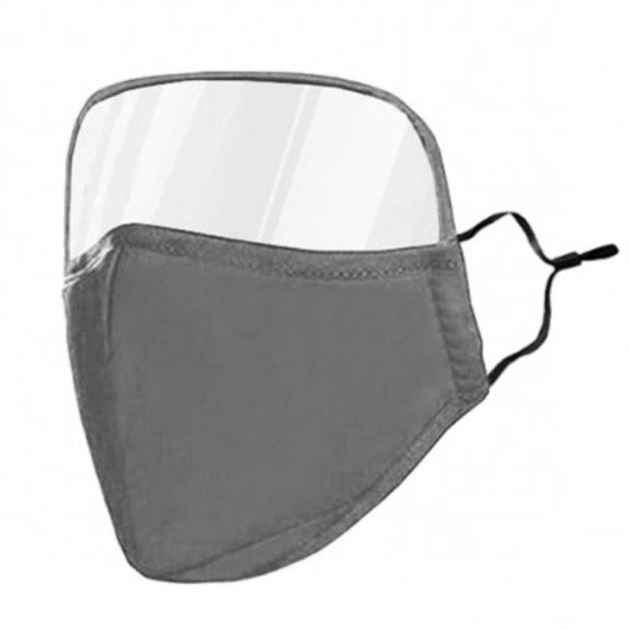 Protective Face Mask with Eye Shield - 6 Colors-Grey-