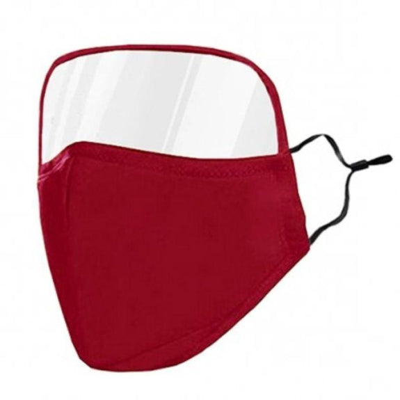 Protective Face Mask with Eye Shield - 6 Colors-Red-