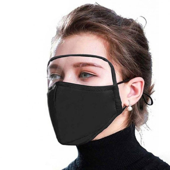 Protective Face Mask with Eye Shield - 6 Colors-Black-