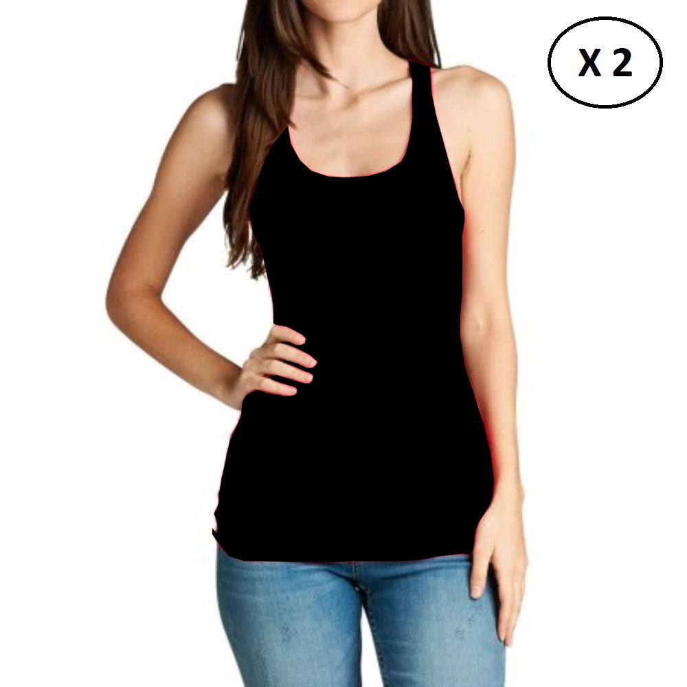 Women's 100% Cotton Daily Tank Top - 2 Pack-Black-L-Daily Steals