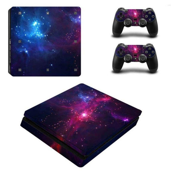 PS4 Slim Console Protective Skins-Midnight Galaxy-