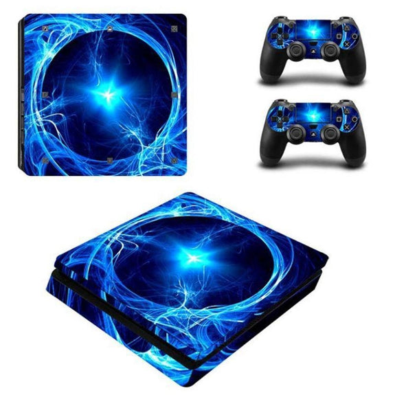 PS4 Slim Console Protective Skins-Blue Lightning-