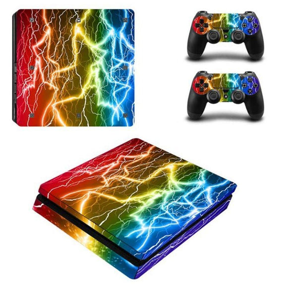 PS4 Slim Console Protective Skins-Rainbow Lightning-