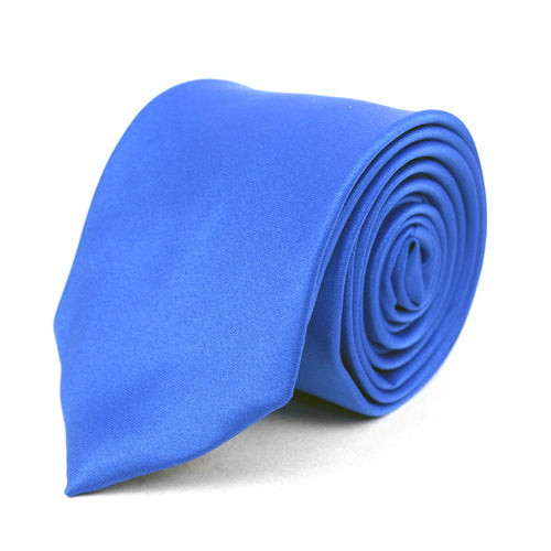 Men's Poly Solid Satin Slim Tie with Paper Band - 9 Color Options-Blue-Daily Steals