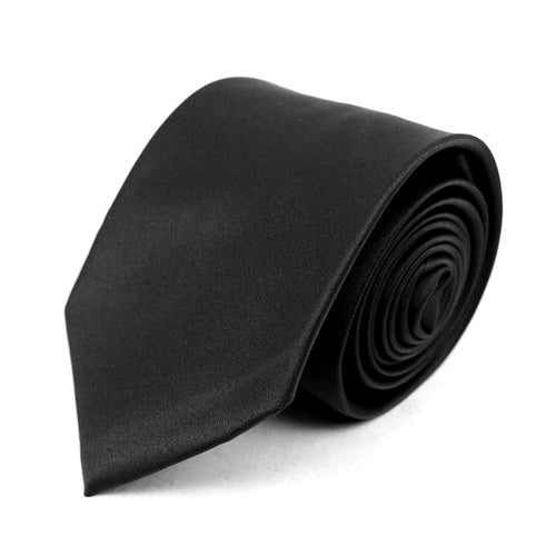 Men's Poly Solid Satin Slim Tie with Paper Band - 9 Color Options-Black-Daily Steals