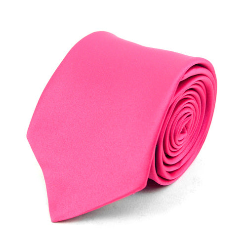 Men's Poly Solid Satin Slim Tie with Paper Band - 9 Color Options-Fuschia-Daily Steals