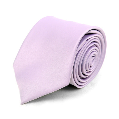 Men's Poly Solid Satin Slim Tie with Paper Band - 9 Color Options-Lavender-Daily Steals
