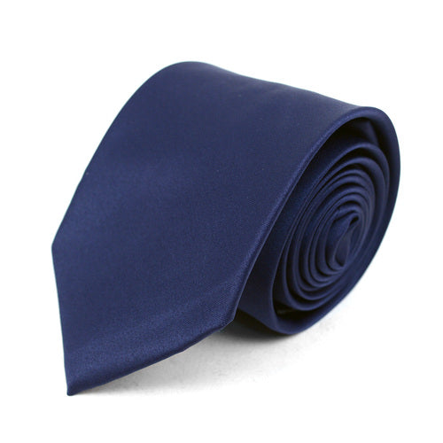 Men's Poly Solid Satin Slim Tie with Paper Band - 9 Color Options-Navy-Daily Steals