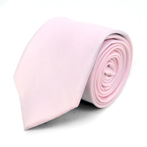 Men's Poly Solid Satin Slim Tie with Paper Band - 9 Color Options-Pink-Daily Steals