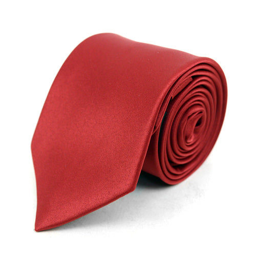 Men's Poly Solid Satin Slim Tie with Paper Band - 9 Color Options-Red-Daily Steals