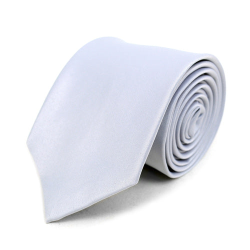 Men's Poly Solid Satin Slim Tie with Paper Band - 9 Color Options-Silver-Daily Steals