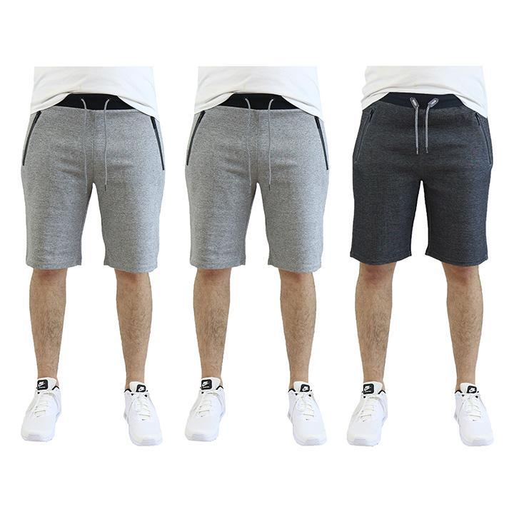Men's Tech Fleece Shorts With Zipper Pockets - 3 Pack-Heather Grey - Heather Grey - Dark Grey-2X-Large-Daily Steals
